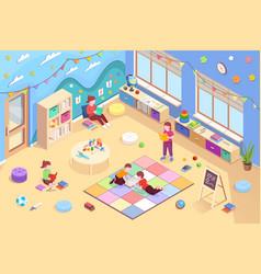 kids reading books isometric kindergarten activity vector image