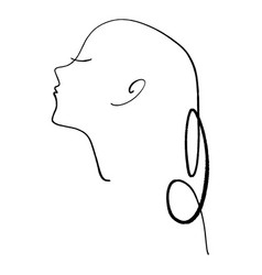 line art girl profile continuous drawing vector image