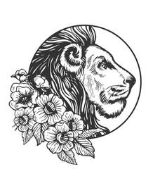 Lion head animal engraving vector