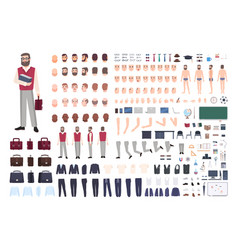 Male teacher constructor or diy kit collection of vector