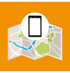 Map mobile phone navigation vector