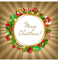 Merry Christmas Frame With Vintage Background vector image