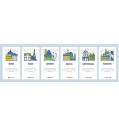 mobile app onboarding screens tourist sightseeing vector image