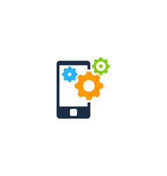 mobile gear logo icon design vector image