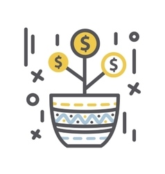Money tree Growth in a pot vector