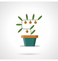Money tree with coins flat color icon vector image