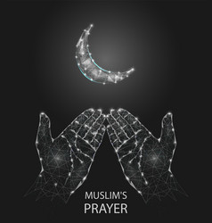muslim prayer hands geometric polygonal vector image