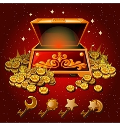 Open box with Royal gold coins and magic keys vector image vector image