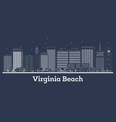 outline virginia beach virginia city skyline with vector image