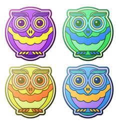 Owl flat set vector