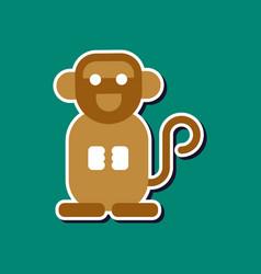 Paper sticker on stylish background cartoon monkey vector