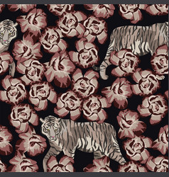 pattern chinese tiger with rose black background vector image