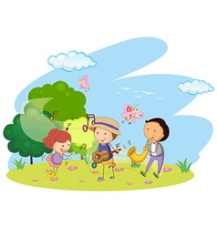 People playing music in garden vector image