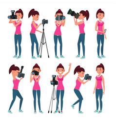 Photographer female modern camera posing vector