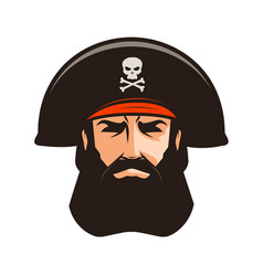 pirate logo or label portrait bearded man in vector image