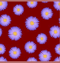 purple aster daisy seamless on red background vector image