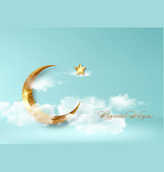 Ramadan kareem 2021 banner arabic gold half moon vector