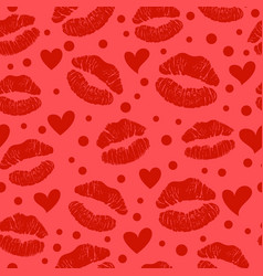 red lipstick kiss seamless pattern vector image