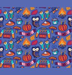 Seamless autumn pattern with pumpkin jumper vector