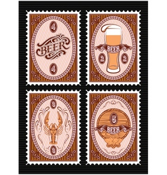 Set of postage stamps with glass of beer keg lobst vector
