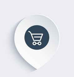 shopping cart line icon on mark vector image