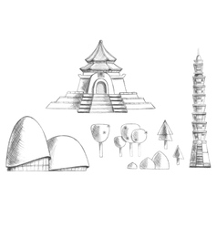 Sketch collection of buildings temples trees vector image