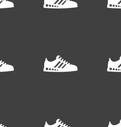 Sneakers icon sign Seamless pattern on a gray vector image