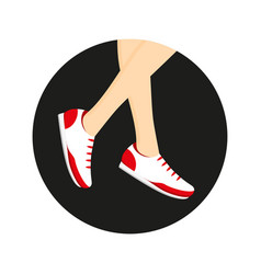 sneakers on legs vector image