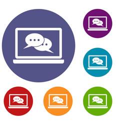 speech bubbles on laptop screen icons set vector image