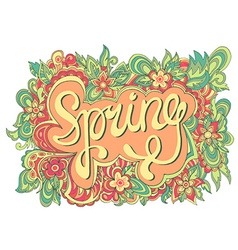Spring hand drawing seamless pattern floral color vector