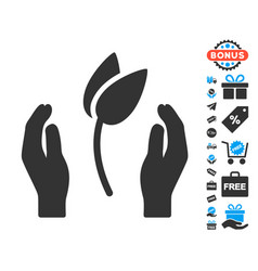 Sprout care hands icon with free bonus vector
