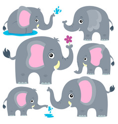Stylized elephants theme set 1 vector