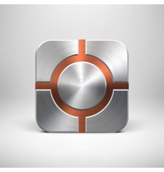 Technology App Icon Template with Metal Texture vector