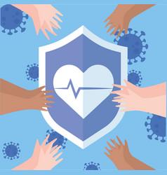Thanks doctors nurses shield protection hands vector