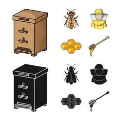 The bee the bee-keeper in the mask the honeycomb vector