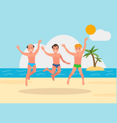three young men jumping on the beach background vector image