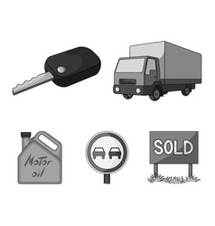 Truck with awning ignition key prohibitory sign vector
