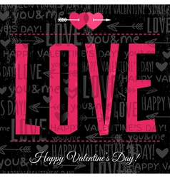valentines day greeting card with red wishes text vector image