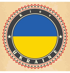 Vintage label cards of Ukraine flag vector