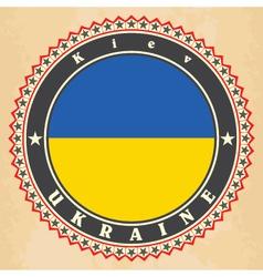 vintage label cards ukraine flag vector image