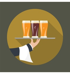 Waiter with three glasses beer vector