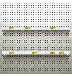 White pegboard background with shelves and price vector image
