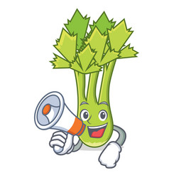With megaphone celery character cartoon style vector