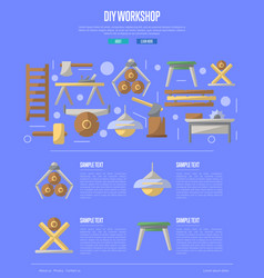 Wood diy workshop poster in flat style vector