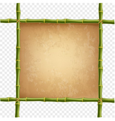 Wooden frame made of green bamboo sticks with vector