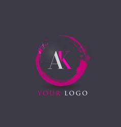 ak letter logo circular purple splash brush vector image