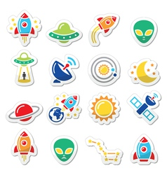 Space and UFO icons set vector image vector image