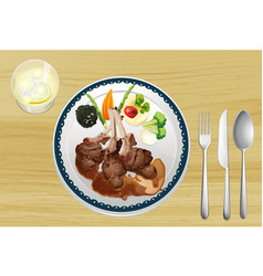 A meat and salad in one dish vector image vector image