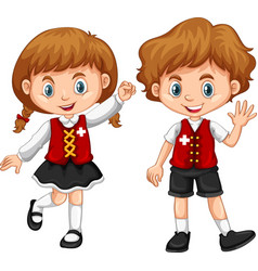 children wearing clothes with switzerland flag vector image