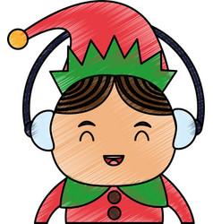 Color pencil cartoon half body christmas elf with vector